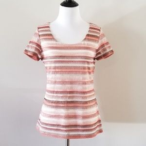 NWT S. Oliver Pink Patterned Knit Tee 6